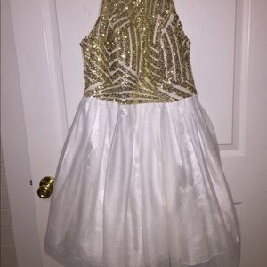 White and gold puffy cocktail dress